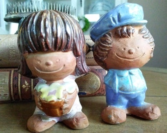 Groovy Boy and Girl Salt and Pepper Shakers Pottery Made in Japan