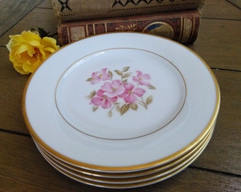 4 Noritake 5235 Pink Dogwood Center and Gold Trim Bread Plates   Set of Four