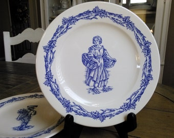 2 William Sonoma Blue Harvest Plates Made in England Male Female Figures Cabinet Plates