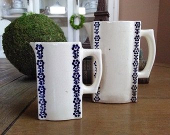 Vintage Farmhouse Spice Oil Jars Minitature Pitchers with Lovely Blue Pattern