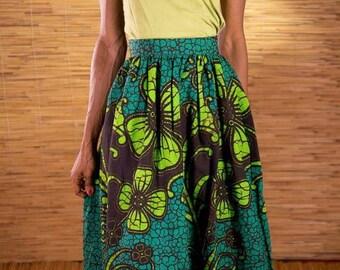 African wax-print maxi skirt, green maxi skirt, African fabric, ankara skirts, handmade fairtrade dress from Burkina Faso