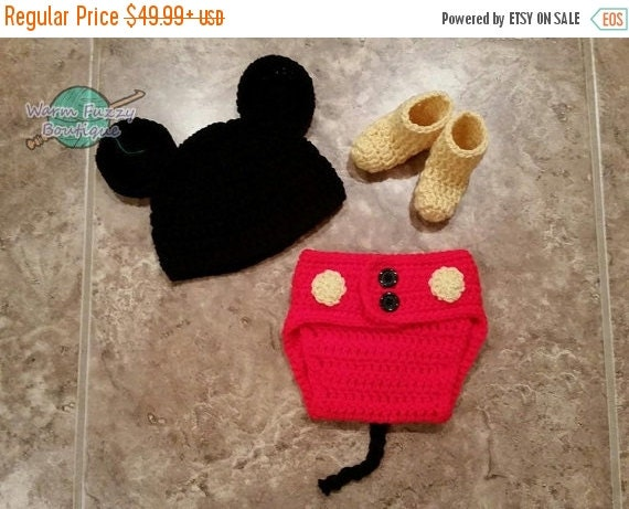 VALENTINES SALE Baby Mickey Mouse Inspired Costume Set Hat Diaper Cover Booties - Crochet Winter Outfit Newborn Boy Girl Halloween  Photo Pr