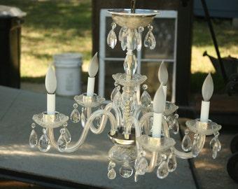 Vintage Silver Crystal Chandelier, Casading Crystals, 1960s, Glass Prism Ceiling Chandelier, Princess, Girly, Home Decor, Lighting
