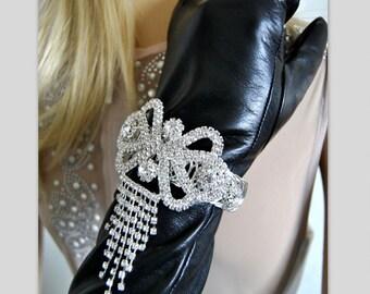 Bridal Bracelet, Fringe Anklet Garter, Unique Bridal Accessories, Wedding Charm, Wraparound Jewelry, Silver Cuffs