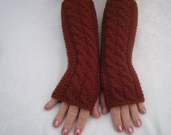 Fingerless gloves Mittens,Wool Fingerless Gloves Knit.Rust.Cabled Wrist Warmers.Soft.Long.