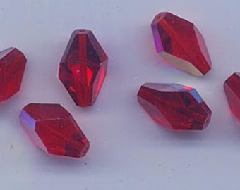 Six rarest of the rare vintage Swarovski crystal beads - Art. 348 (polygons) - 15 x 10 mm - light siam AB