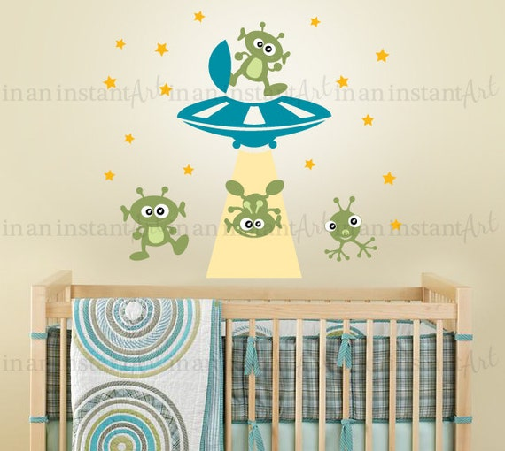 Alien Invasion Wall Decal, Outer Space Decal, UFO Wall Decal for Nursery or Kids, Childrens Room 032