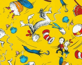 Robert Kaufman - Dr. Seuss Collection - The Cat In The Hat - Yellow - Choose Your Cut 1/2 or Full Yard