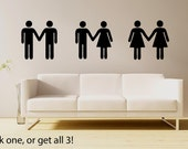 Helvetica couple holding hands- pick your sex & size! Gay couple- cute couple decal