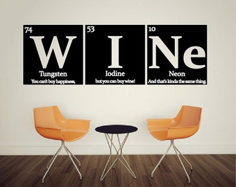 Periodic table of elements WINE Vinyl wall decal - with quote