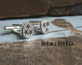 Tennessee Tri-Star Cuff Links- Sterling Silver/Brass Nashville.Memphis. Knoxville. Chattanooga. Tennessee. Handmade. Bird on a Wire Jewelry