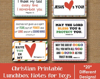 Printable Lunch Bag Notes for Boys | Bible Verse Encouragement Cards for School Kids | Scripture, Christian Lunch Love Notes | DIY PRINTABLE
