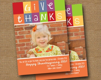 "Printable Thanksgiving Photo Card | ""Thanksgiving Colorblock"" {1} 