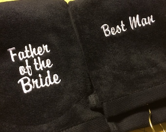 Wedding golf towel for the groom, best man, ushers or Fathers