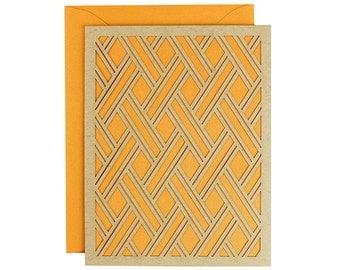 Blank Card - Geometric Pumpkin Orange Laser Cut Card