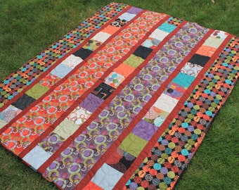 Masculine Large Lap Quilt in Rust, Black, Green and Teal