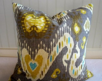 Waverly Taupe/Grey and Gold Ikat Pillow Covers in Enlightened Pumice