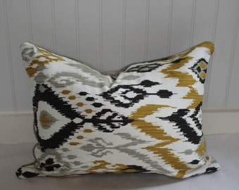 IN STOCK / Grey, Black and Gold Ikat Pillow Cover / in  Designer Fabric with Grey/Taupe Upholstery Back