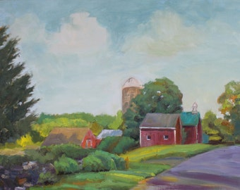Guilford Red Barn Farm / Original Landscape Oil Painting / 18 X 24 / Connecticut Farm