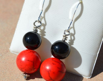 Red Howlite and Black Onyx