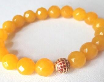 Faceted Golden Jade with Gold Orange Topaz Pave CZ Focal