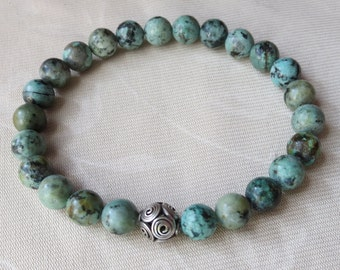 Unisex 8mm African Turquoise Bracelet with Fancy Hand Made Sterling Silver Focal Bead