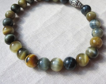 Rare Blue and Golden Tigers Eye and Sterling Silver Unisex Stretch Bracelet