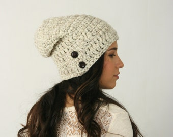 Slouchy Beanie Hat With Two Buttons Chunky Crochet Winter Hat THE DARTMOOR Wheat