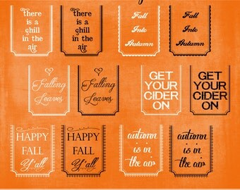 Fall Picture Tags No. 1 - Twelve Fun Digital .png Files to Adorn Your Fall Pictures