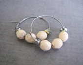 Cream Hoop Earrings : 1 inch Small Beaded Jewelry