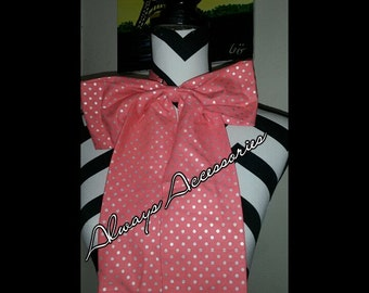 Peach Polka Dot Lady Bowtie