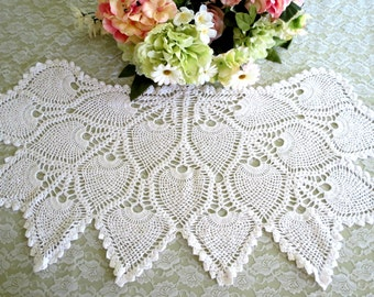 Crocheted Antimacassar, Chair Back Doily, Armchair Doily, Sofa Back Doily, Pineapple Pattern, Vintage Linens by TheSweetBasilShoppe