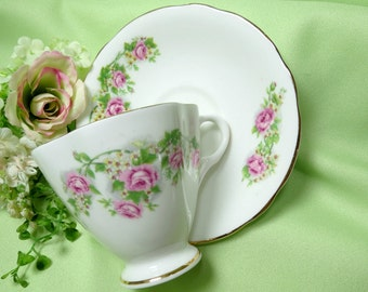 Vintage Footed Teacup and Saucer by Clarence, Made in England, Bone China Teacup, Pink Roses, Vintage Serving Ware by TheSweetbasil
