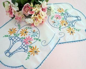 Vintage Table Runner, Dresser Scarf, Bureau Scarf Hand Embroidered, Flower Basket Design, Blue  Pink, Vintage Linens by TheSweetBasilShoppe