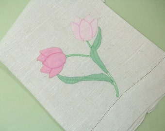 Vintage Tea Towel,  Hand Towel, Natural Colored Linen, Pink and Green Tulips, Cottage Chic Home Decor Vintage Linens by TheSweetBasilShoppe
