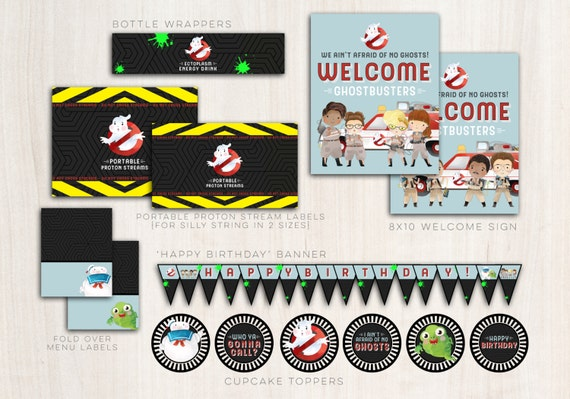 GhostBusters Party Pack - Ghost busters party banner, cupcake toppers & more! - INSTANT DOWNLOAD