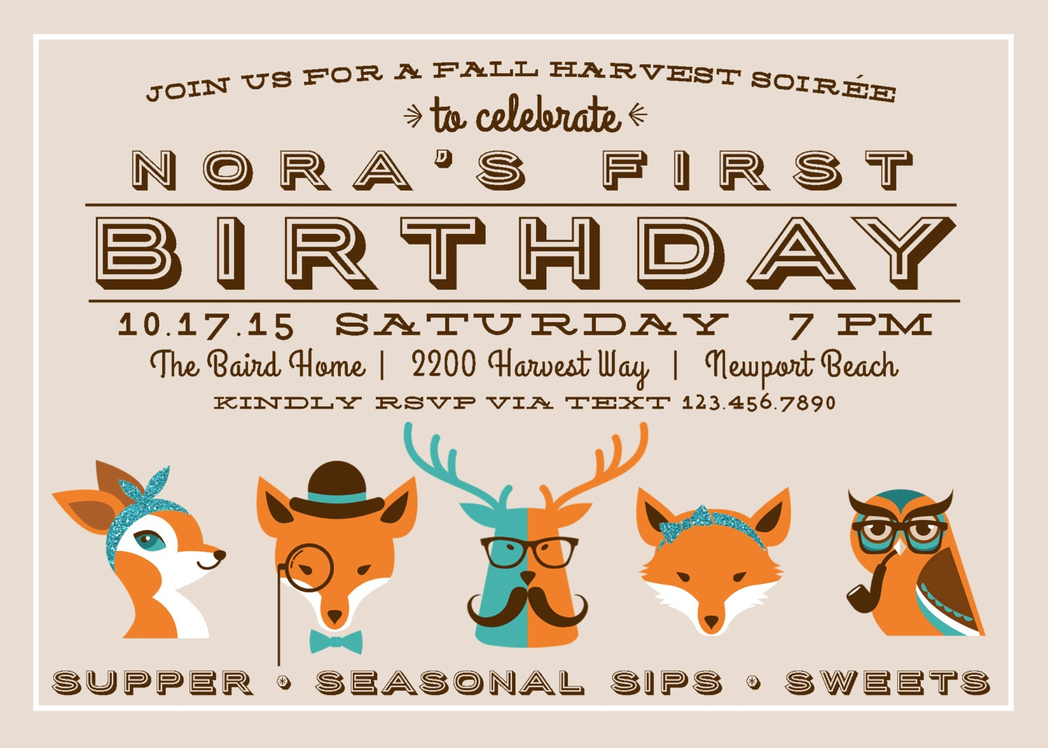Fall Harvest Hipster Invitation - Hipster Birthday Party  - Printable Party Supplies