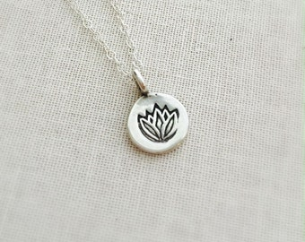 Small Sterling Silver Lotus Disc Necklace, Lotus Disk Charm Necklace, Birthday Gift, Sterling Silver Necklace, Good Lucky Charm Necklace