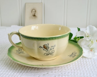 Tea cup with saucer, vintage Swedish Gefle stoneware, pale yellow and green, dogrose pattern, tea accessory, vintage cups