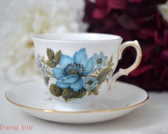 Queen Anne Teacup and Saucer Set With Blue Flowers, Wedding Gift, English Bone China Teacup Set, Pattern 8522,  ca.1950