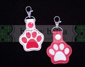 Pets Paw Print Key Chain Fob Zipper Pull Luggage ID Bag Tag Snap Tab - I love dogs cats paw print