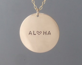 ONE INCH Coin Personalized Gold Fill Disc Necklace also in Rose Gold and Silver