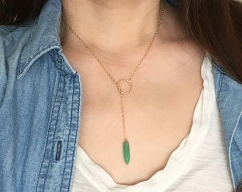 Gold Y Lariat Circle Drop Chrysoprase Necklace also in Rose Gold Fill and Sterling Silver