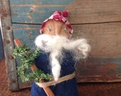 Primitive Christmas Santa Folk Art Doll~ Primitive Belsnickel or Santa~Winter~ Handmade Artist doll~ Christmas Tree