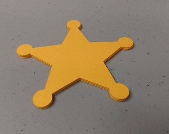 24 Sheriff Badge Die Cuts, Star Cutouts, 3 inches , Cowboy Cowgirl Die Cuts for Cupcake Toppers