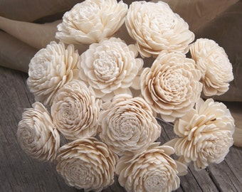 "Sola Flowers Stemmed or Without Stems Set of 12 Natural Ivory Sola Zinnia 2"" DIY Bride"