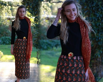 Incredible 70s vintage midi dress / Paisley floral brocade tapestry slimline gown petite sizing