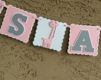 Giraffe It's A Girl Banner. Baby Shower Banner. Baby Girl. Pink, Gray and White