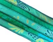 Teal Silk Bracelet Ribbon, W539