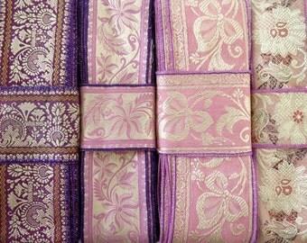 Pink Purple Silk Sari borders, Sari Trim SR375